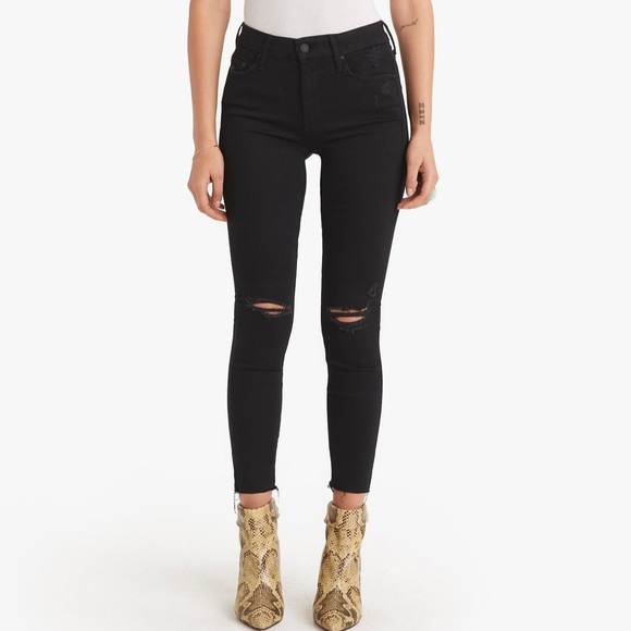 Mother Looker Ankle Fray Jeans Black Distressed 28